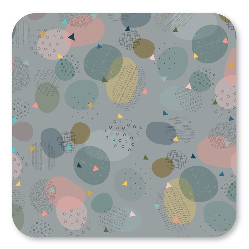 Pastel Shades Colorful Rustic Table Mats Retro Chic Dining Table Plate Placements Dinnerware Table Mats Square Funky Pop Art Placemats