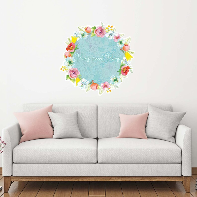 home sweet home wall art wreath decor interior design wall etsyWall Decals Interior Decorating #20