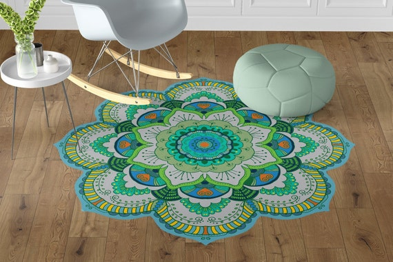 Vinyl Floor Mats >> Beautiful Green Mandala Vinyl Floor Mats Non Slip Flower Entrance Mat Kitchen Vinyl Flooring Oriental Area Rug Unique Gift