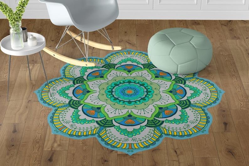 Vinyl Floor Mats >> Beautiful Green Mandala Vinyl Floor Mats Non Slip Flower Entrance Mat Kitchen Vinyl Flooring Oriental Area Rug