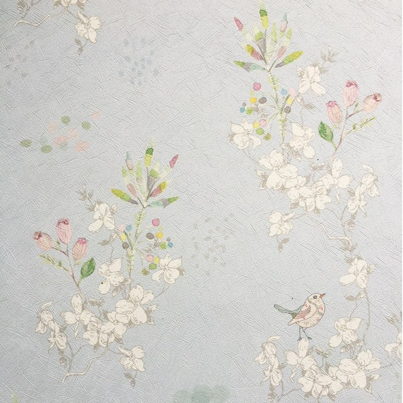 Flowers And Birds Wallpaper Delicate Vintage Wallpaper Textured Wallpaper Bedroom Wallpaper Floral Wallpaper