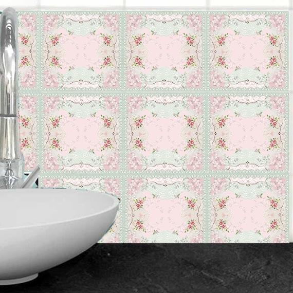 Satz Von 14 Rosa Vintage Stil Fliesenaufkleber Diy Küche Aufkantung Badezimmer Fliesen Sticker Dekorative Rosen Fliesenaufkleber
