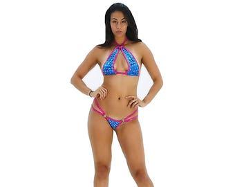 c8cd94ddd86 Stripper Outfit Exotic Dancewear Pole Dancer Gogo Dancer Sexy Model  Rhinestone Bikini