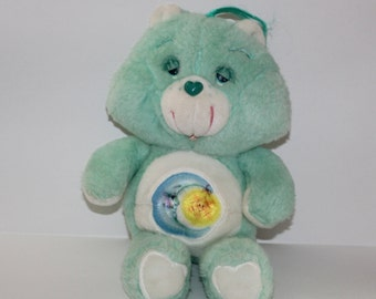 "Care Bear BEDTIME BEAR Plush Toy 13"" Vintage 1983 Kenner Original 80s Toys Stuffed Animal Sleepy Blue"