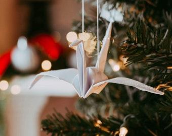 Christmas Crane Ornament - First Anniversary Gift  - Wedding Decorations  - Paper Origami Cranes - Origami Peace Crane - Original - Unique