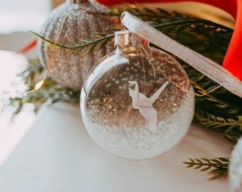 Origami Crane Christmas Ornament - Mini Peace Crane Wedding Decoration - Original Holiday Ornament