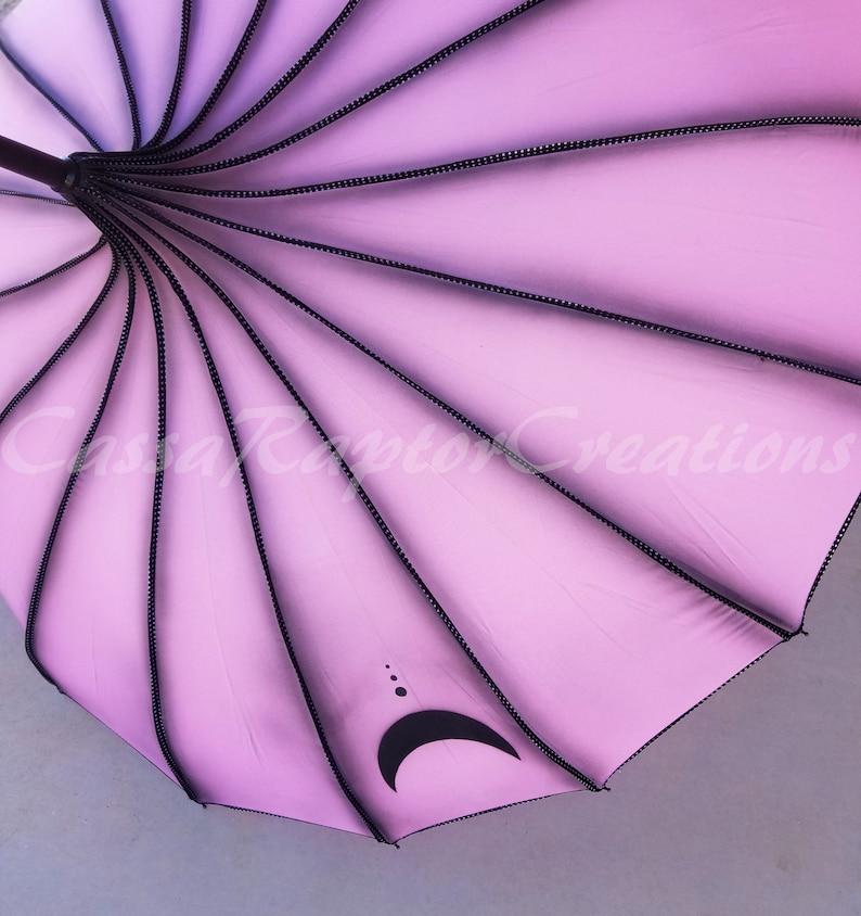 Black Lady Sailor Moon Inspired Painted Pagoda Umbrella image 0
