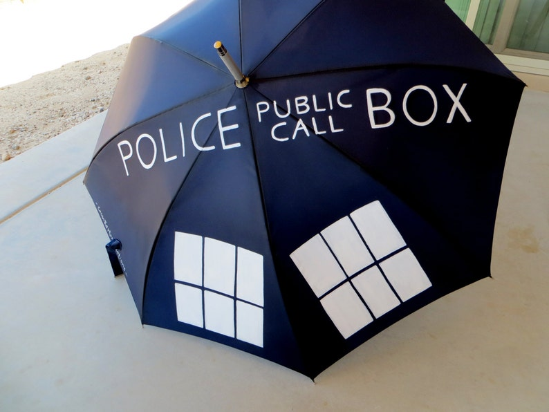 Police Public Call Box Doctor Painted Umbrella image 0