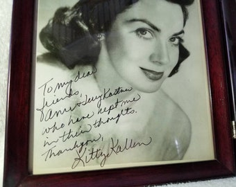 Kitty Kallen Autograph and letter written on personal stationary.
