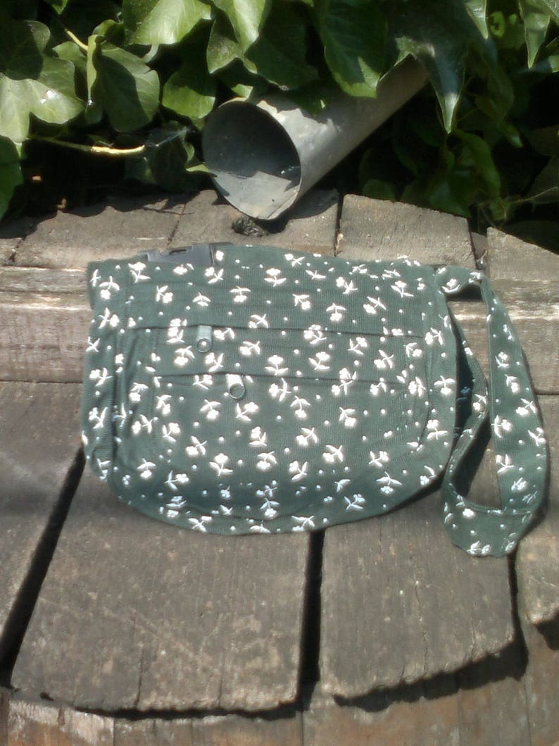 Green and white floral corduroy fanny pack,hip bag,belt bag