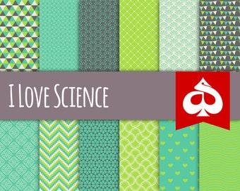 I Love Science Digital Paper Pattern Clipart