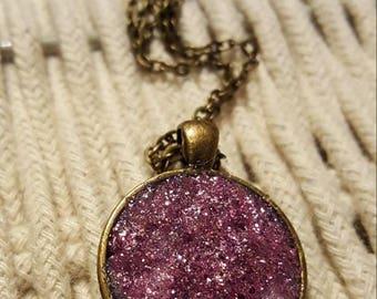 Pink faux druzy pendant