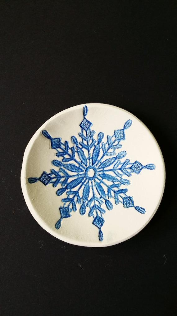 clay bowl jewelry bowl leaf blue stencil ring dish