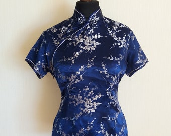 6b7e4c070c783 Vintage Chinese Dark Blue Floral Cheongsam Asian Top Large to XLarge Size