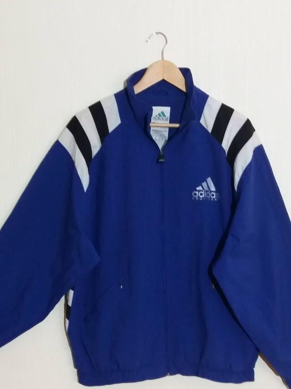 ADIDAS Vintage bleu blanc rayé coupe vent Sport veste taille XLarge
