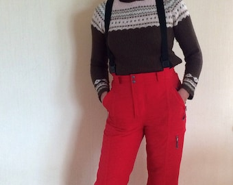 90's Red Snowboarding Thick Winter Hipster Warm Windbreaker Pants Size Medium to Large