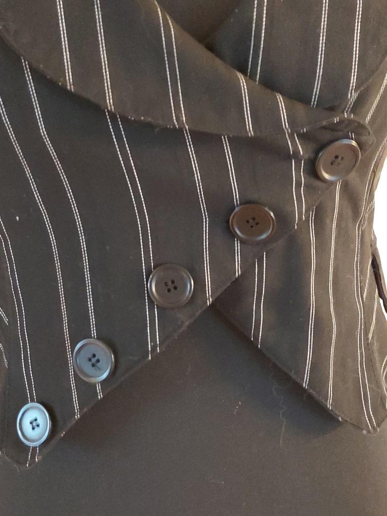 Black Striped Formal Women/'s Fitted Waistcoat Office Vest