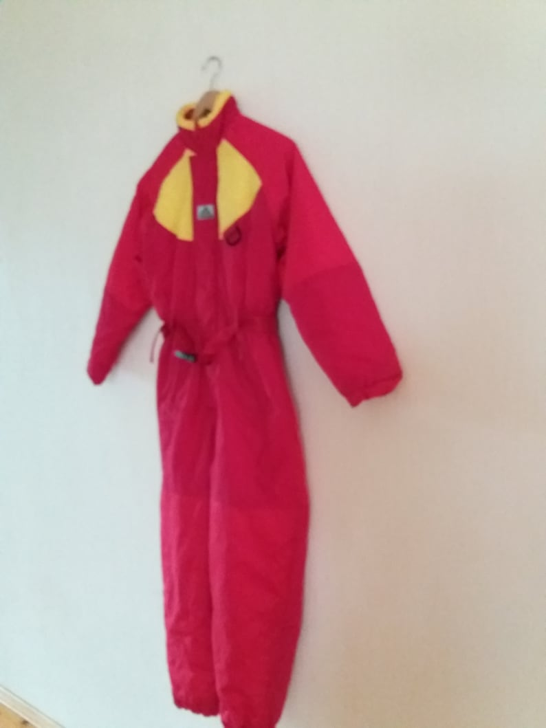 Children RedYellow One Piece Patterned Retro Hipster Winter Ski Suit Size 152