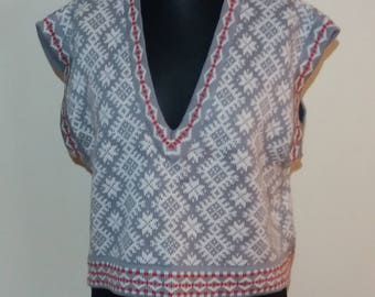 Women's Vintage Grey/White Knitted Vest XLarge Size