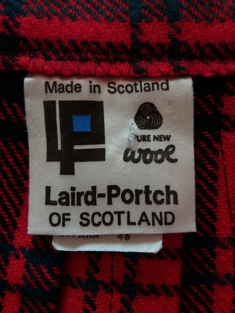 Scottish Tartan Plaid Authentic RedBlack Wool Wrap Skirt Size Medium