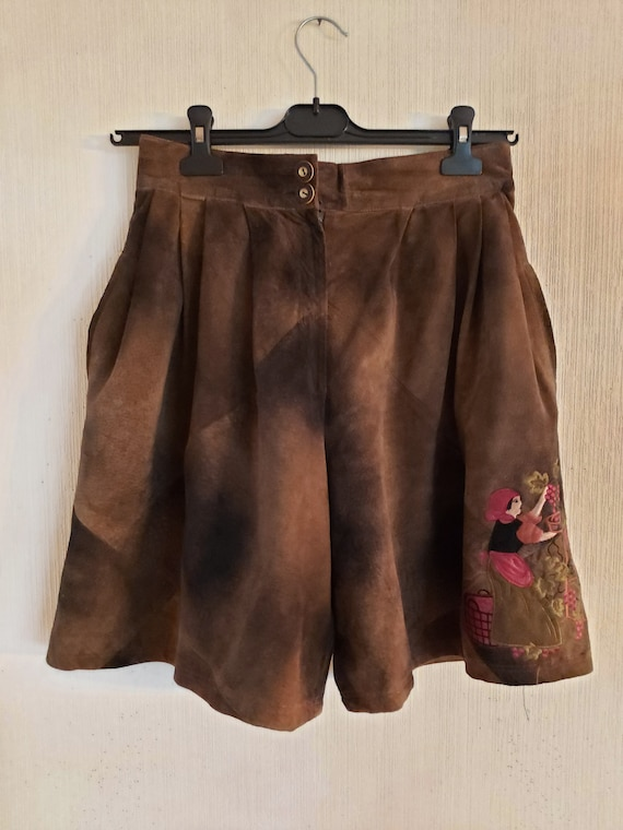 Vintage Brown Genuine Suede Leather Shorts