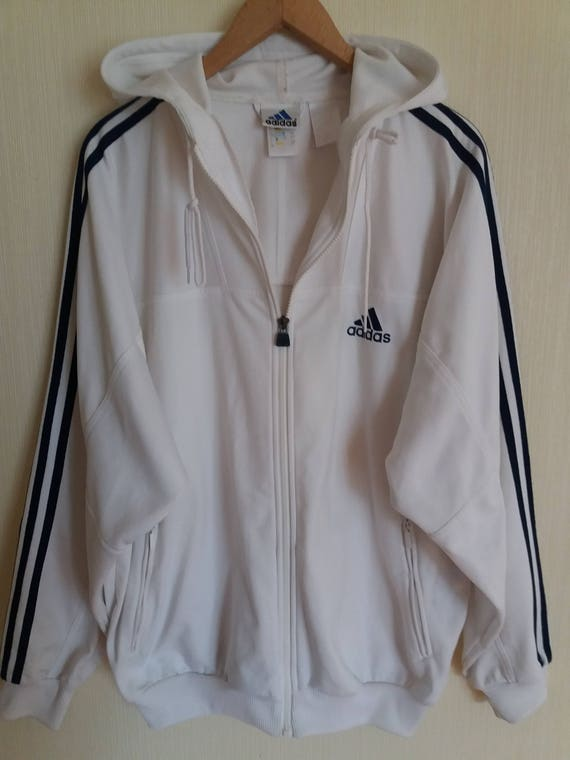 Vintage Adidas weiße Jacke mit Kapuze XXLarge Größe