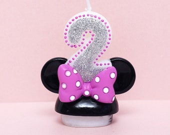 Minnie Mouse Second Birthday Candle Keepsake Topper 2 1 2X2