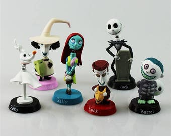 nightmare before christmas cake topper bobble head jack skellington sally 6 pc set