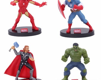 Marvel The Avengers Captain America Hulk Thor Iron Man Birthday Cake Topper Figurines Large 4
