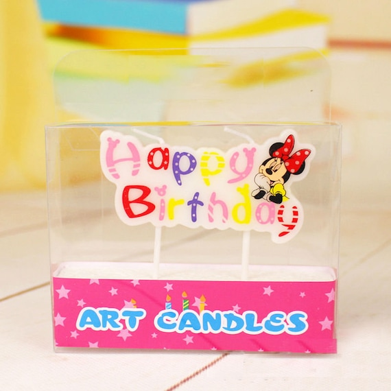 Minnie Mouse Happy Birthday Candle Cake Topper Set