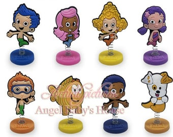 """Bubble Guppies Birthday Cake Toppers  1/4""""X 1-1/2"""" ( 8- pc Set )"""
