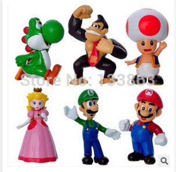 6 pcs Set Super Mario Bros Yoshi Luigi Toad Game Character   Etsy