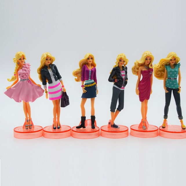Barbie Birthday Cake Topper Large Figurines 6pc Set 3 1 4 Tall