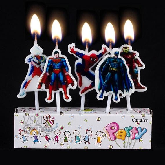 Super Hero Set Of 5 Birthday Candle Cake Topper 1
