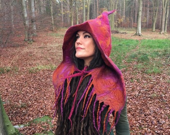 9bbbe6d43b2 The 'Harvest Spell' Felted Hood, Fantasy Witch Hat with Tendrils