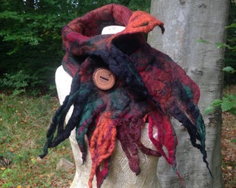 The 'Autumn Leaves' Woodland Felted Scarf of Fall Inspired hues, Felt Cowl, Faerie Scarf, For Elves and Pixies, Mori Girl Wearable Art Scarf