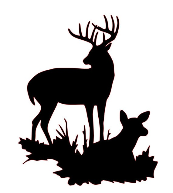 buck and doe silhouette svg file etsy