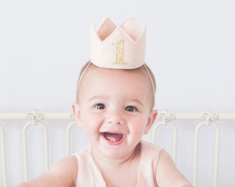 Blush Pink and Gold Felt Mini First Birthday Crown Headband, Glitter One, Baby Girl, Princess, Smash Cake Photo Prop, One Year Old Party