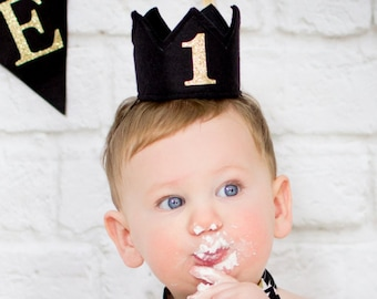 Black Felt Mini First Birthday Crown Headband, Gold Glitter, Girl, Boy Prince, Smash Cake Photo Prop, Baby, One Year Old Party
