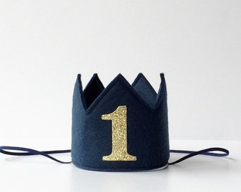 Navy Blue Felt Mini First Birthday Crown Headband, Gold Glitter, Nautical, Girl, Boy Prince, Smash Cake Photo Prop, Baby, One Year Old Party