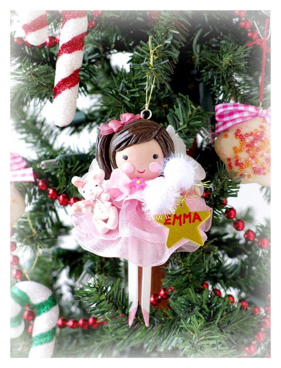 Baby First Christmas Ornament Clothespin Doll Personalized Etsy