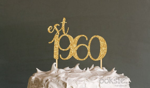Amazing 60Th Birthday Cake Topper Est 1960 Sixtieth Birthday Cake Etsy Funny Birthday Cards Online Bapapcheapnameinfo