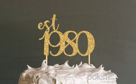 Tremendous 40Th Birthday Cake Topper Est 1980 Fortieth Birthday Cake Etsy Funny Birthday Cards Online Elaedamsfinfo