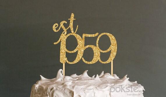 60 Geburtstag Kuchen Deckel Est 1959 Sechzigsten Geburtstag Etsy