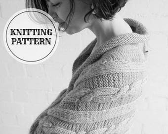 Knitted Shrug, knitted cocoon, knitted cardigan, knitted bolero, PDF knitting pattern, chunky cardigan