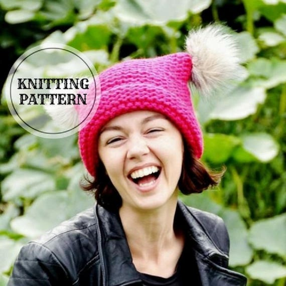 f7b03ce5903 KNITTING PATTERN Candy Pink Hat Cat Pink Hat Pink Cat Hat