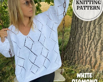 Openwork Diamond Knitting Pattern Sweater, Knitting Pattern Jumper, Pullover, v-neck Knit Sweater, PDF Knitting Pattern