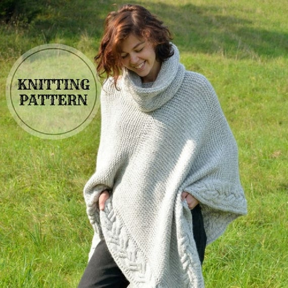 Plus Size - Over Size Poncho, Cowl, Knitting Pattern Download PDF , One Size, Oversized Poncho Gray, Chunky