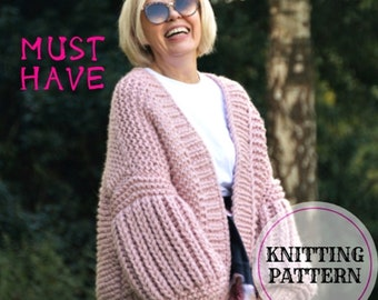 Must Have Cardigan Knitting Pattern, Oversized Chunky Cardigan, Super Bulky Cardigan Knitting Pattern