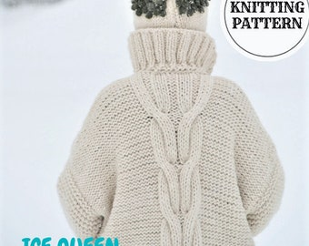 Chunky Knitting Cable Cardigan, Chunky Knitting Pattern, Cable Knit Coat, Oversized Cardigan, Plus Size Knit Cardigan